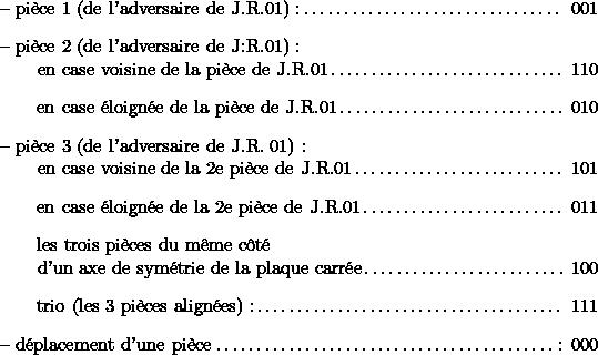 $\begin{specifications}% [label={}] \item{-- pièce 1 (de l'adversaire de J.R.01) :} 001 \item{-- pièce 2 (de l'adversaire de J:R.01) : \\       en case voisine de la pièce de J.R.01} 110  \item  {\qquad en case éloignée de la pièce de J.R.01} 010 \item {-- pièce 3 (de l'adversaire de J.R. 01) :\\         en case voisine de la 2e pièce de J.R.01} 101  \item  {\qquad en case éloignée de la 2e pièce de J.R.01} 011  \item  {\qquad les trois pièces du même côté\\         d'un axe de symétrie de la plaque carrée}  100  \item  {\qquad trio (les 3 pièces alignées) :} 111  \item  {-- déplacement d'une pièce}: 000 \end{specifications}$