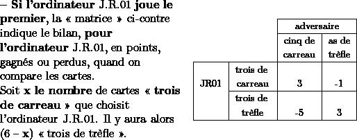 \begin{tabular}{>{\raggedright}m{6cm}c} \begin{raggedright} \textbf{-- Si l'ordinateur} J.R.01 \textbf{joue le} \textbf{premier}, la « matrice » ci-contre indique le bilan, \textbf{pour l'ordinateur} J.R.01, en points, gagnés ou perdus, quand on compare les cartes.  \par\end{raggedright}  Soit \textbf{x le nombre} de cartes «\textbf{ trois de carreau} » que choisit l'ordinateur J.R.01. Il y aura alors ($6-\mathbf{x}$) « trois de trèfle ».  & % \begin{tabular}{|c|c|c|c|} \cline{3-4}  \multicolumn{1}{c}{} &  & \multicolumn{2}{c|}{{\footnotesize{}adversaire}}\ \cline{3-4}  \multicolumn{1}{c}{} &  & {\footnotesize{}cinq de} & {\footnotesize{}as de }\ \multicolumn{1}{c}{} &  & {\footnotesize{}carreau} & {\footnotesize{}trèfle}\ \hline   & {\footnotesize{}trois de } &  & \ {\footnotesize{}JR01} & {\footnotesize{}carreau} & {\footnotesize{}3} & {\footnotesize{}-1}\ \cline{2-4}   & {\footnotesize{}trois de } &  & \  & {\footnotesize{}trèfle} & {\footnotesize{}-5} & {\footnotesize{}3}\ \hline  \end{tabular}\ \end{tabular}